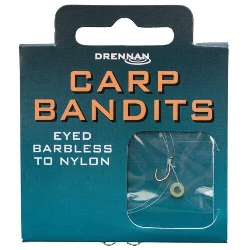 Drennan Ready Tied Bandit Carp Eyed Barbless Hooks to Nylon