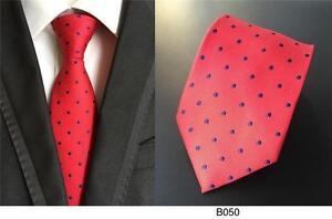 A-Pois-Cravate-Rouge-et-Bleu-Fait-a-la-Main-100-Soie-Habille-Mariage-8cm