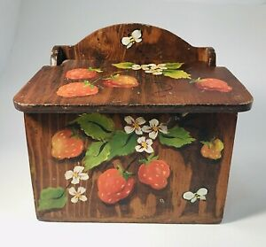 Vintage-Wood-Recipe-Box-Hand-Made-Painted-Strawberries-5x3-Cards-Country-Cottage