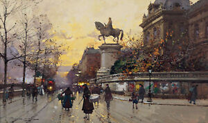 Statue-of-Etienne-Marcel-Paris-Painting-by-Eugene-Galien-Laloue-Reproduction
