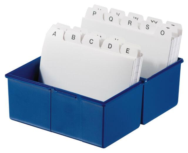 ohne Inhalt HAN Karteikasten Lernbox A7 977-14 Quer für 300 Karten Blau