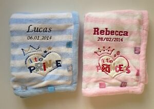 Personalised Deluxe Twin Baby Blankets Great Gift Litle Prince Little Princess