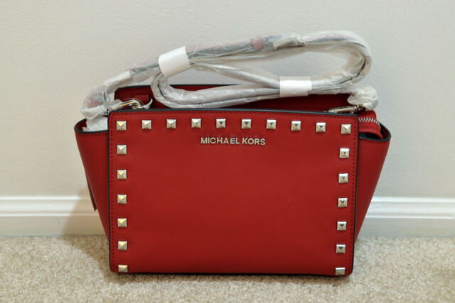a80209d407ce NWT Michael Kors Selma Medium Studded Saffiano Leather Messenger Crossbody  Red