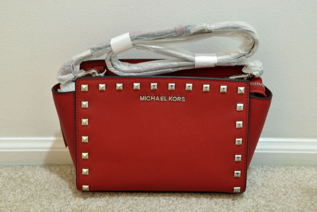 6a8bd964bb40 Michael Kors Selma Studded Medium Cherry Red Saffiano Leather Messenger