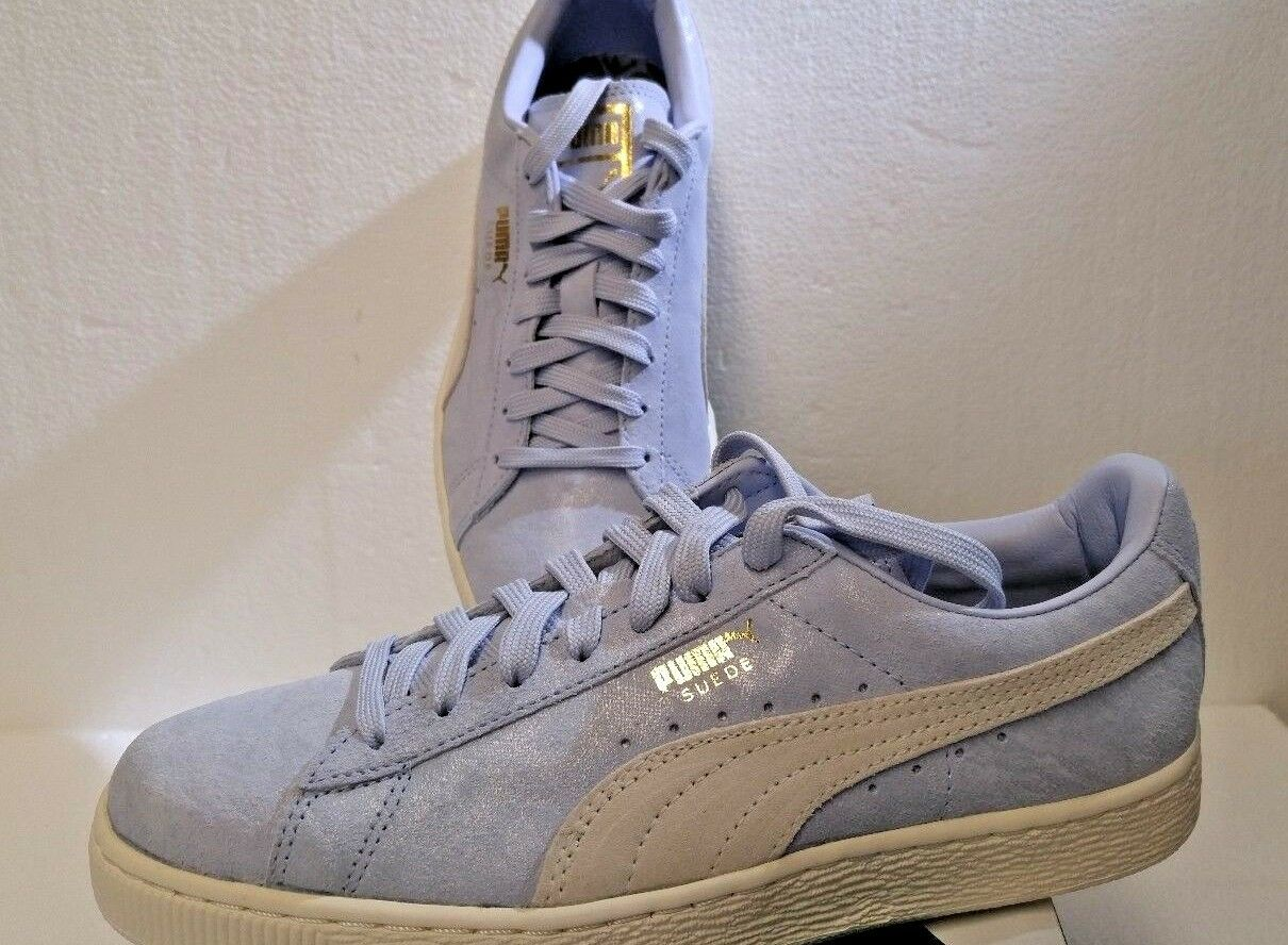 NEW Sz 8.5 PUMA femmes Suede Classic Shine Sneakers, Halogen Bleu/Whisp/Wht Gold
