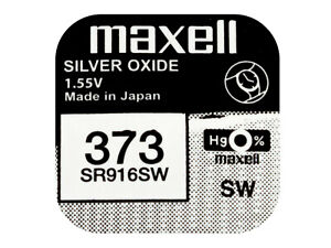 éNergique Maxell 373 Pila Batteria Orologio Mercury Free Silver Oxide Sr916sw Japan 1.55v
