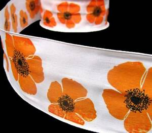 5 yards sale orange poppy flowers poppies white wired ribbon 2 12w image is loading 5 yards sale orange poppy flowers poppies white mightylinksfo