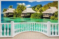 Huge 3D Balcony Exotic Ocean Beach Wall Stickers Decal Wallpaper S73