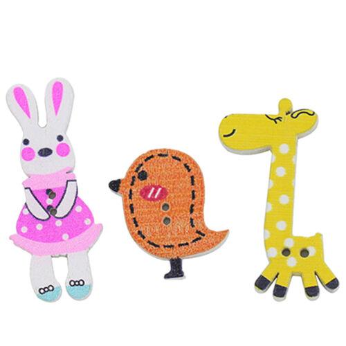 50Pcs Mixed DIY Wooden Popular Scrapbook Buttons Cartoon Sewing Animal Craft J/&C