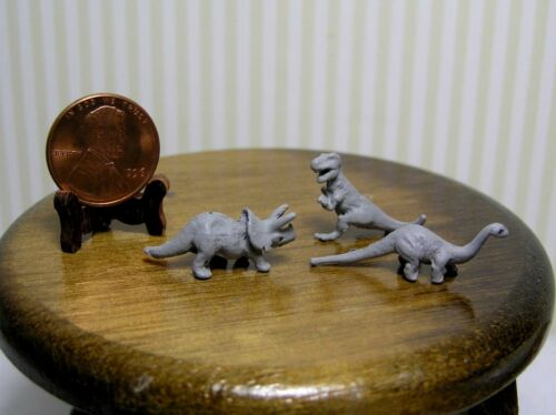 Miniature Dollhouse Set of 3 gray metal Dinosaurs