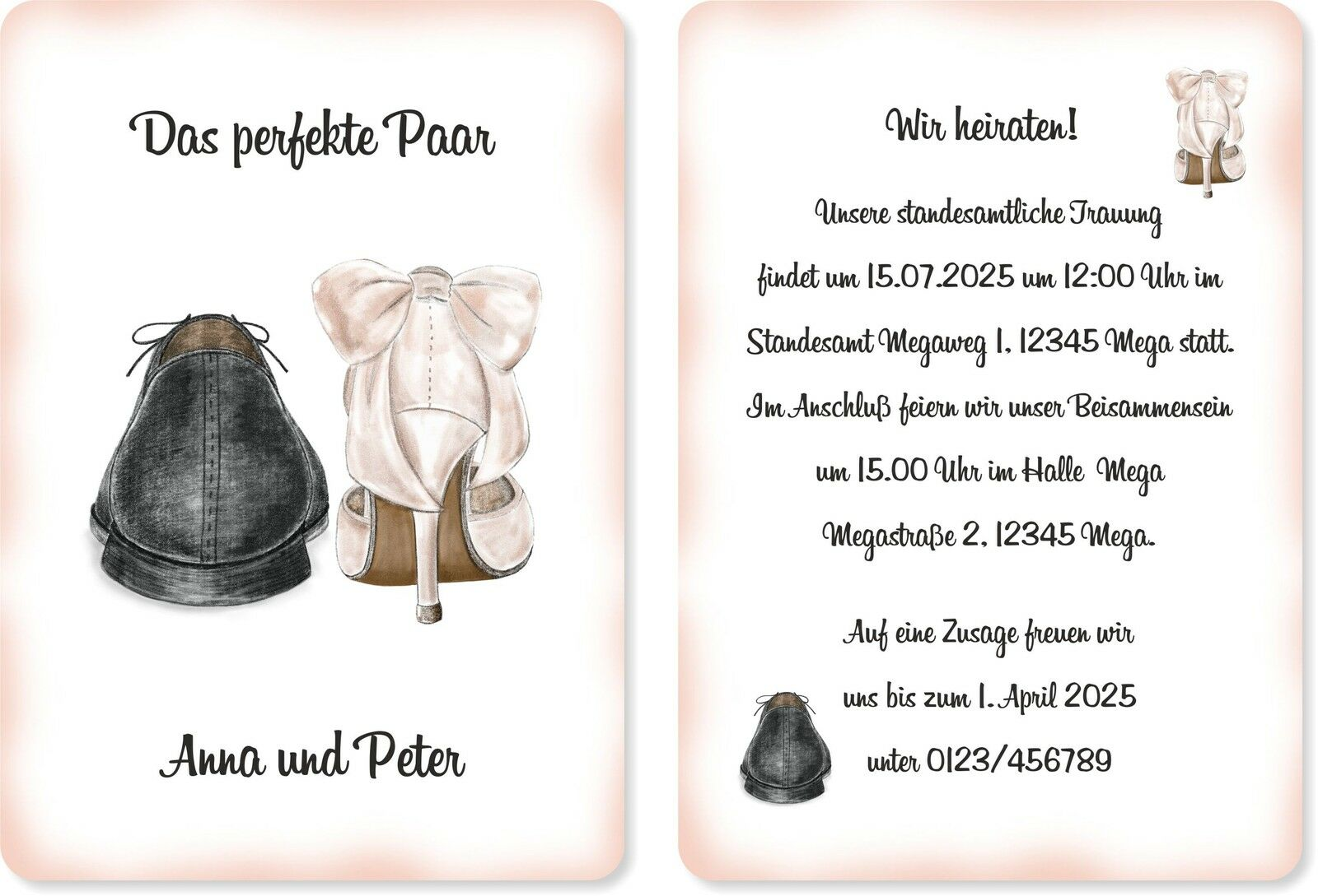 Einladungskarten Hochzeit Hochzeitskarten Hochzeitseinladungen Schuhe edel