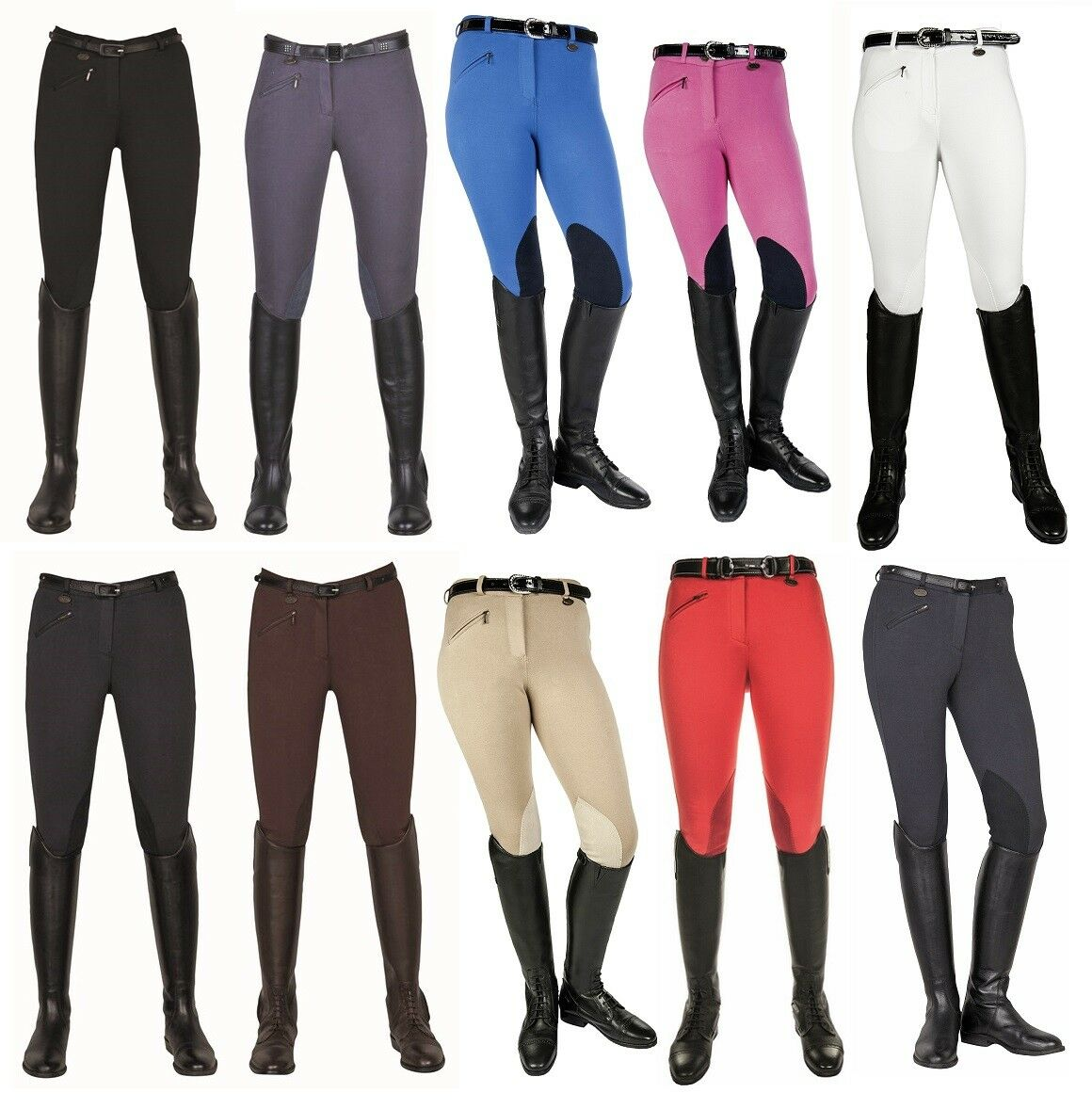 HKM Ladies Horse Riding Breeches Penny Easy Imitation Leather Knee Patch ALL SIZ