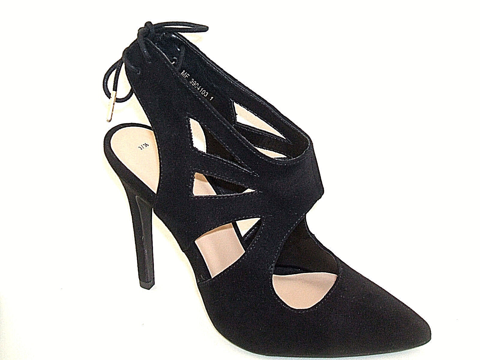 NEW LOOK SIZE 2.5 3 36 BLACK FAUX SUEDE HIGH HEEL SLINGBACK SHOES SANDALS BNEW