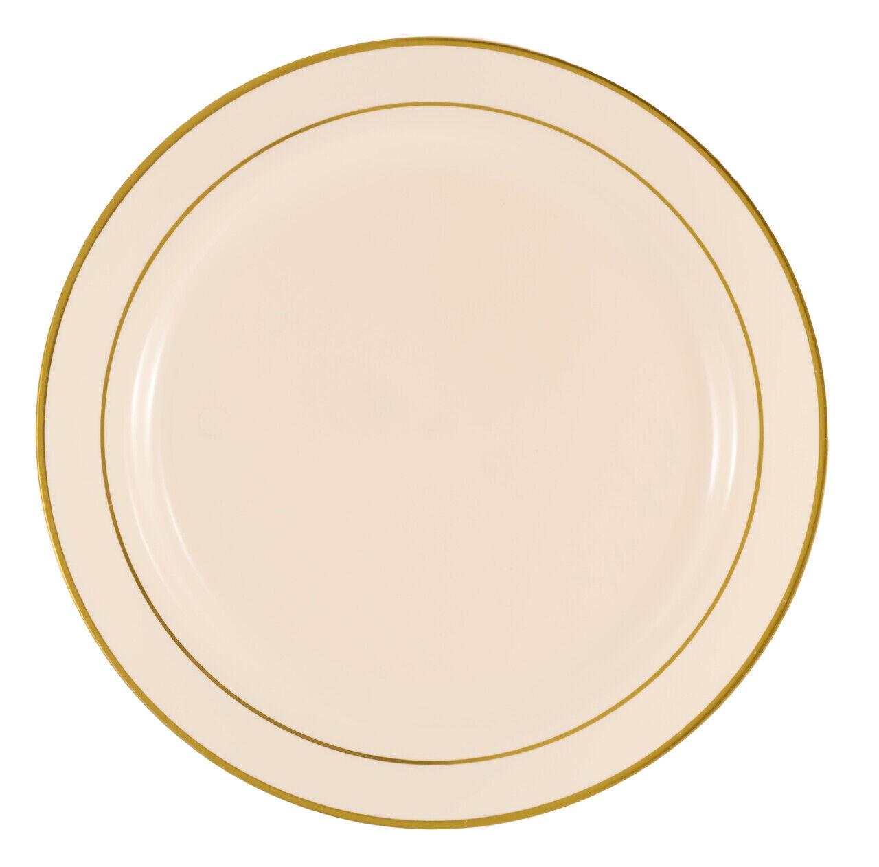 120 Pieces 9  Elegant Rimmed Plastic Round Lunch-Buffet Wedding Plates