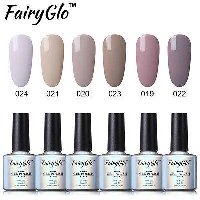 FairyGlo Nagellack Gel Polish Nail Art Nude Series Nagelgel 6 Farbe Set 10ml