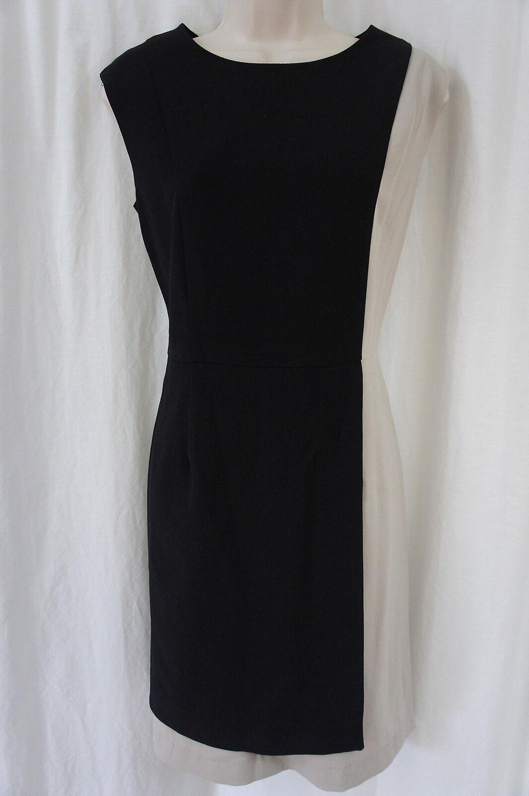 Shelby & Palmer Dress Sz 10 schwarz Khaki Farbeblock Boatneck Career Sheath Dress