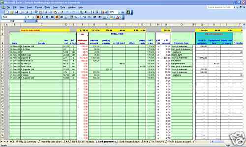 Garage/MOT centre bookkeeping & VAT spreadsheets for 2019 year end