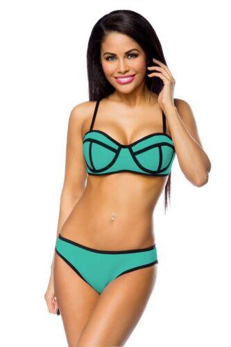 Neopren-Buegel-Bikini mit Kontrastnähten Bademode Strandmode Sommermode 14200