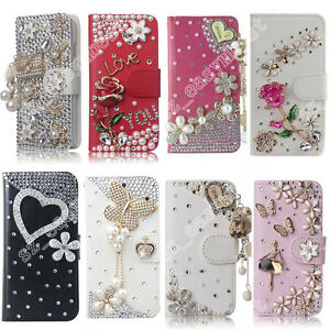 Hot-Flip-Bling-Diamond-Crystal-Wallet-Card-Stand-Case-Cover-For-Various-Phone