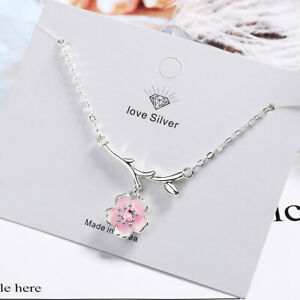 925 Sterling Silver Pink Cherry Blossoms Pendant Necklace