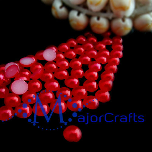 1800pcs Red 1.5mm Flat Back Half Round Resin Pearls Nail Art Gems C23