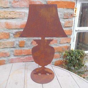 Deko Lampe Tischlampe Rost Metall 36cm H Gartenfigur Landhausstil