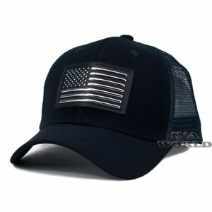 USA-American-Flag-hat-Pique-Snapback-hat-Tactical-Mesh-Baseball-cap-Navy-Blue