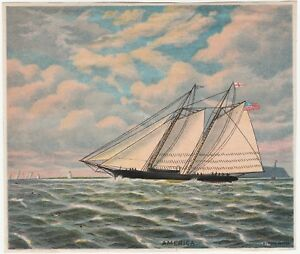 Details about RARE Original Lithograph Print- Sailboat America Schooner  1880s by Bufford