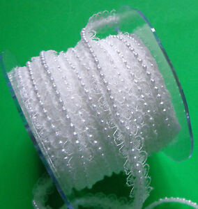 My arts 3/8 Inch width Lace / Pearl Center Ribbon white selling by the yard