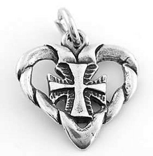 STERLING SILVER HEART WITH CROSS INSIDE CHARM//PENDANT