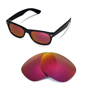 e4903e16ba Details about Walleva Polarized Fire Red Lenses For Ray-Ban Wayfarer RB2132  52mm