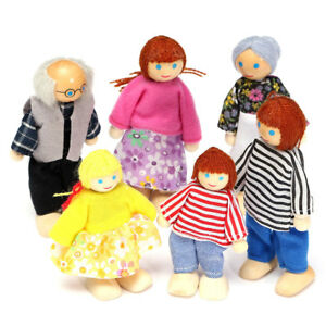 6-Dolls-Cute-Wooden-House-Family-People-Set-Kids-Children-Pretend-Play-Toy-Gift