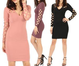 Womens V Neck Long Sleeve Bodycon Diamond Laser Cut Caged Party Dress Xmas Gift