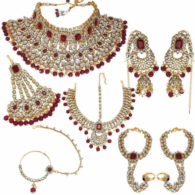 Indian Fashion Gold Tone Pearls Bridal Wedding Bollywood Necklace Jewelry Set