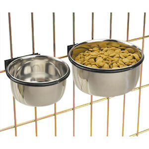 Bolt-On-Cage-Bowl-USA-Seller-Coop-Cup-Clamp-Crate-Dog-Dish-Stainless-Pet-Bird