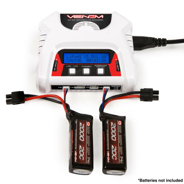 Venom 0683 2-4 Cell DUAL AC/DC LiPO Battery Balance Charger Life w LCD