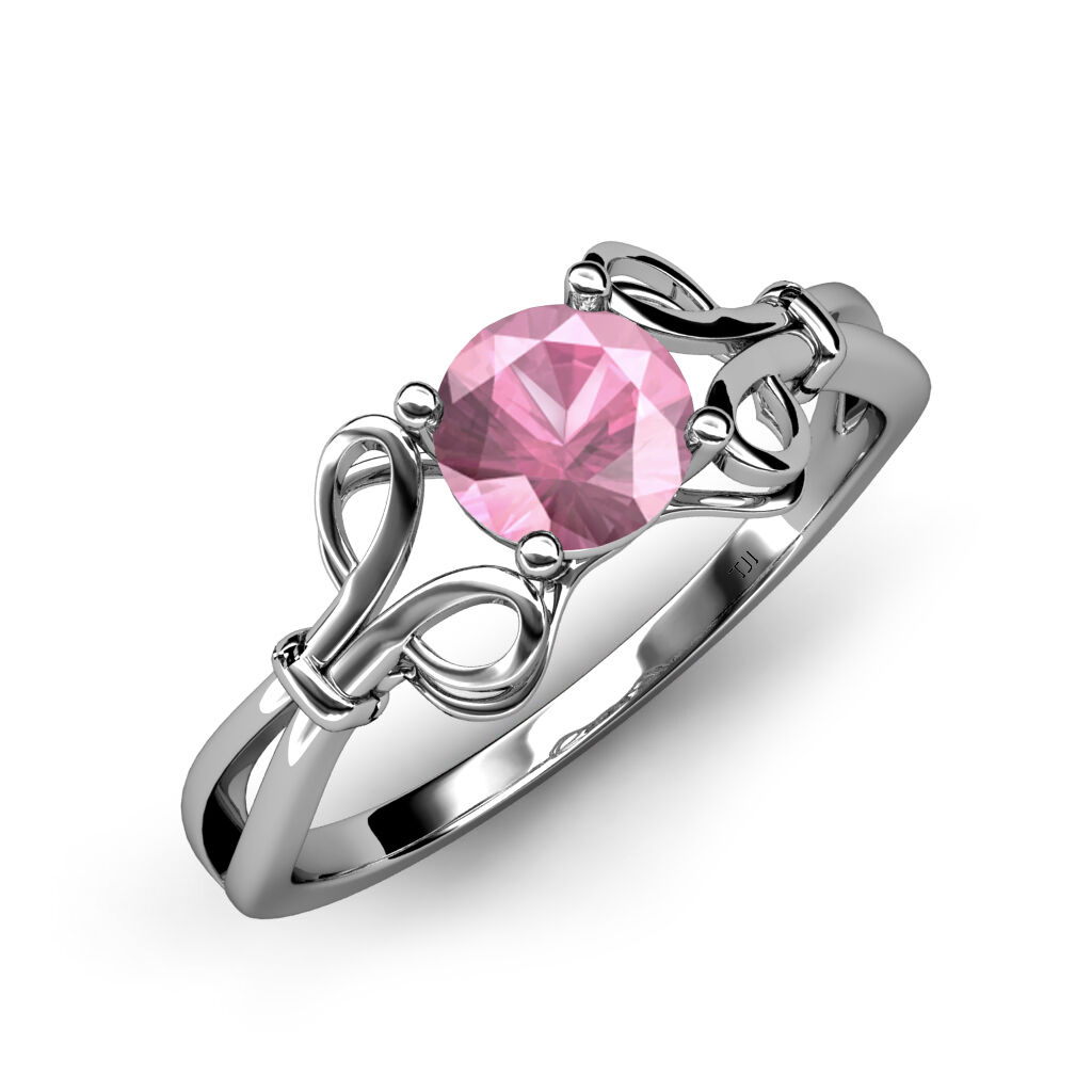 Pink Tourmaline Floral Solitaire Ring 0.95 ct in 14K gold. JP 34419