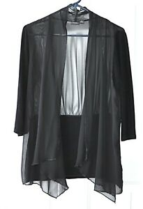 Chicos-Travelers-Size-0-S-Open-Front-Top-Black-Sheer-Solid-Panels-Draped-Front