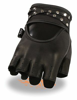 Womens Soft Leather Fingerless Motorcycle Gloves Biker Cute Studded