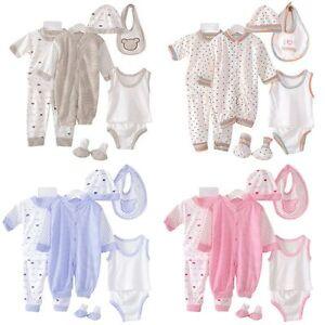 8PCS-Newborn-Baby-Clothes-Set-Girl-Boy-Romper-Jumpsuit-Bodysuit-Hat-Bibs-Outfits
