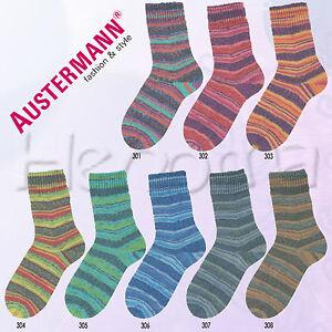 100g-Austermann-Step-4-fach-034-Flower-Rainbow-034-Sockenwolle-Schoeller-Stahl