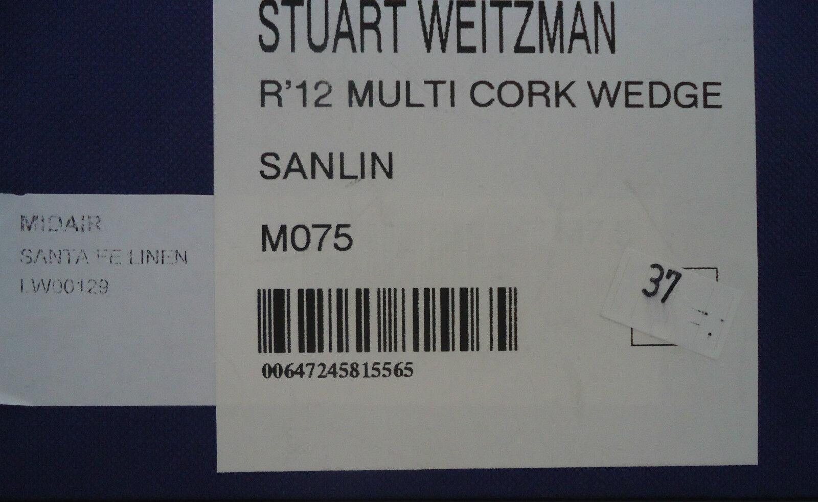 Stuart Weitzman capturan Corcho Sandalia de de de cuña Santa Fe Lino Talla 7.5 4ba59a