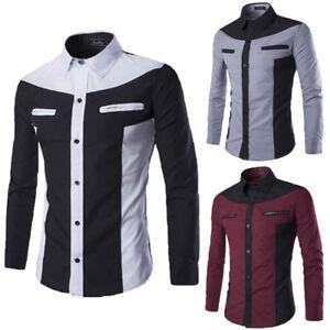 Luxury-Men-039-s-Stylish-Casual-Dress-Shirt-Slim-Fit-T-Shirt-Long-Sleeve-Formal-Tops