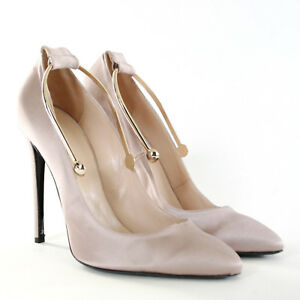 05e27b34e059 RICHARD BRAQO  640 rose satin gold metal ankle cuff high heel pumps ...