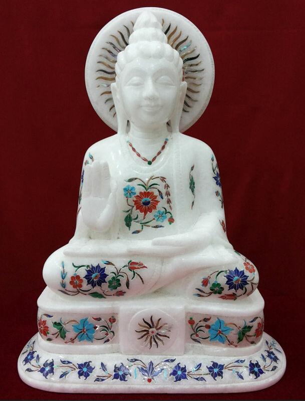 12  Mármol blancoo Incrustación De Buda el Budismo Hecho a Mano religioso Coleccionable Regalo H2238