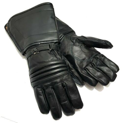 Herren Echt Leder Handschuhe Motorrad Biker Lederhandschuhe lang gefüttert Gr L