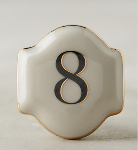 New Anthropologie Hotel Numeral Eight 8 Drawer Knob Pull Ceramic and Chrome