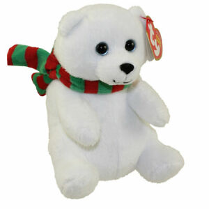 TY Beanie Baby - SNOWDROP the Polar Bear with Scarf (6 inch) - MWMTs Stuffed Toy