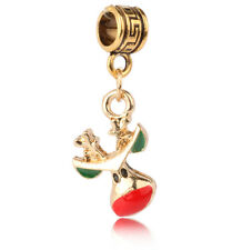 1pcs 18k Gold Christmas deer Charm Pendant fit European Silver Bracelet A#440