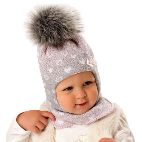 AJS Baby Mädchen Kinder Mütze Wintermütze Schlupfmütze Sturmmütze Bommel Wolle